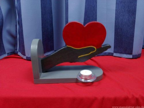 Hand mit Herz grau/metallikgrau/rot