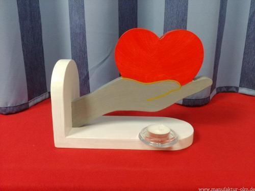 Hand mit Herz grau/rot/weiss